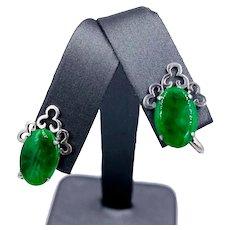 Vintage 14k white gold Imperial Jade jadeite screw back Earrings Asian Chinese