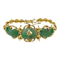 Vintage 22k yellow gold Jade hand made bracelet Asian Chinese 7 1/4""