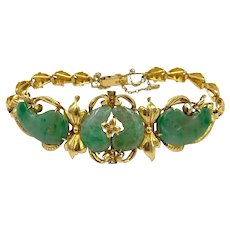 """Vintage 22k yellow gold Jade hand made bracelet Asian Chinese 7 1/4"""""""