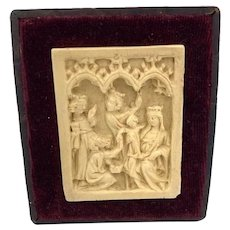 Antique Hand Carved Icon Baby Jesus Virgin Mary 3 kings Framed