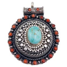 Vintage Sterling Silver Tibetan Nepali pendant Hand made Turquoise coral Amulet