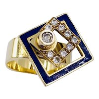 N. Teufel vintage 18K gold enamel Diamond Spinner ring size 6.5