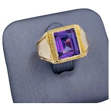 Vintage 12k Yellow gold Synthetic Alexandrite Men's Ring