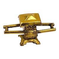 Vintage 14K Gold 3D Chinese Sedan Chair Charm Pendant