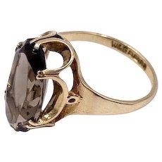 Vintage English Hallmarked 9 CT Gold Oval topaz Gemstone Ring