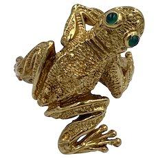 Kurt Wayne 18k Frog ring Vintage Chrysoprase eyes