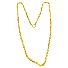 """Vintage Pure 24K .9999 Gold diamond cut Necklace barrel and beads 18"""""""