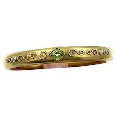 Victorian 15k Yellow Gold Peridot Hinged Bangle Bracelet w/ Diamonds