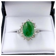 Estate Platinum Imperial Jade Jadeite .75ctw Old Mine Cut Diamond Ring