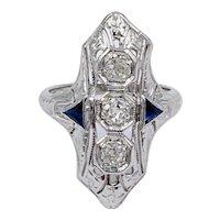 Estate Art Deco 18k White gold Old mine cut Diamond Sapphire women's ring