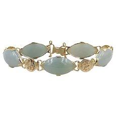 Vintage Ming's 14K Yellow Gold Green Jade Jadeite Link Bracelet