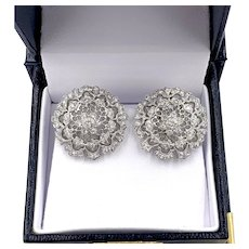 Vintage 18K White Gold 1.00ctw Filigree Old Euro Diamond Omega Back Earrings