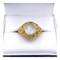 Vintage 18K Yellow Gold Moonstone Cabochon Open work Ring