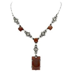 Vintage Art Deco 925 Sterling Silver Carnelian and Marcasite Necklace