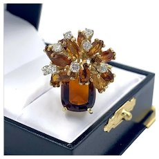 Estate 18K Yellow Gold Garnet and Citrine Cocktail Ring w/ .40ctw in Diamonds