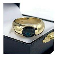 Vintage 14K Gold 2.50ct Cushion Cut Blue Sapphire Classic Men's Ring