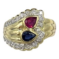 Vintage .60ct Red Ruby and Blue Sapphire 18k Yellow Gold Ring w/ VS Diamonds