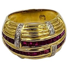 Vintage Designer LeVian Vintage 18K Gold Diamond & Baguette Ruby Dome Ring