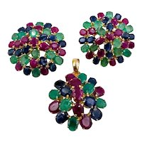 Vintage 14k Yellow gold Multicolor Earrings Pendant set Sapphire Ruby Emerald