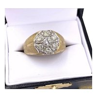 Vintage 14k Yellow gold 1.00ct Diamond Cluster Men's Ring 10sz