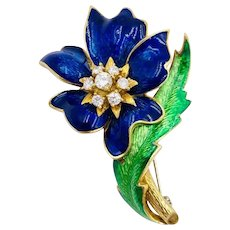 Vintage Moba Italy 18k Yellow Gold Enamel With Diamonds Flower Brooch pin .60cts