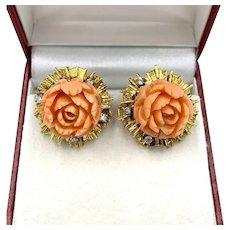 Vintage 14K Yellow Gold Carved Natural Salmon Coral Flower Diamond Earrings