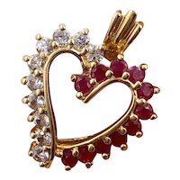 Vintage 10K Yellow Gold Natural White Sapphire & Red Ruby Heart Pendant