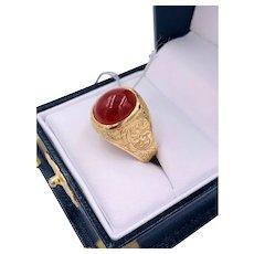 Vintage 18k Rose Gold Carnelian cabochon Men's Ring hand etched