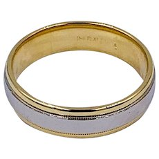 Vintage designer Diana 18k yellow gold / Platinum Men's Wedding Band Ring 10.5sz