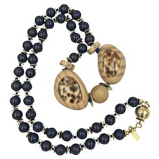 Vintage Valentino Faux Wood Cheetah Blue Bead FreeForm Gold Tone Necklace Italy