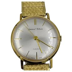 Vintage Germinal Voltaire 14k Yellow gold 17 Jewels Mens 34mm watch