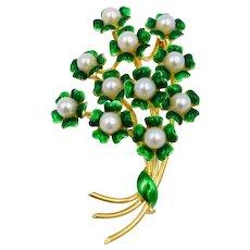 Corletto 18K Yellow Italian Handmade Flower Bouquet Pearl Brooch pin