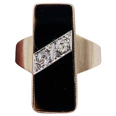 Art Deco 10k Rose gold Onyx and Old Mine cut Diamond  Ring