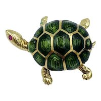 Mid-century Estate 14k Yellow Gold Green Enamel Turtle Pin Brooch signed