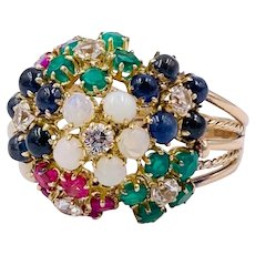 Vintage 14k Rose gold Cluster flower dome ring Multi gemstone Sapphire Ruby