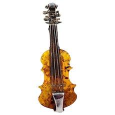 Rare Vintage Baltic Amber Violin Sterling Silver Brooch Pin Cognac Honey