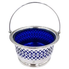 Webster Sterling Silver Reticulated Basket, Blue Glass Liner Swing handle