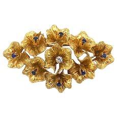 Estate Italian 18K Gold Sapphire & Diamond Floral Poppy Flower Brooch Pin