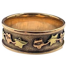 Antique Victorian Unisex 14K Rose Gold Textured Ring Band w/ Stars and Flowers