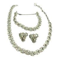Vintage Bogoff Clear Rhinestone Necklace clip earrings Bracelet Perure Set