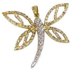 Estate 18K white Yellow Gold Butterfly Cubic zircon Pendant designer Signed