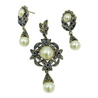 Vintage Sterling Silver Marcasite Lapis Faux Pearl dangle Pendant Earring Set