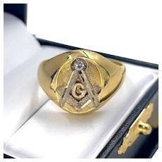 Vintage 18K Yellow Gold Freemason Square and Compass Men's Diamond Ring