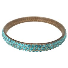 Three Row Aqua Rhinestone Celluloid Bracelet - Art Deco Bangle