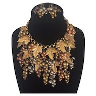 Early Miriam Haskell Double Strand Grape &  Leaves Necklace and Earrings Set