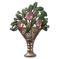 Enameled Flower Arrangement Pin with Lavender Stones