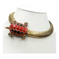 Red and Black Turtle on Golden Gas Pipe - Omega Collar Necklace