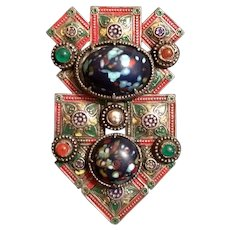 Moorish Influenced Design Enameled Dress Clip with Marbleized Glass Stones
