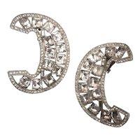 Stunning Crescent-shaped Rhinestone Earrings