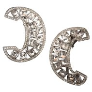 Stunning Crescent-shaped Rhinestone Earrings